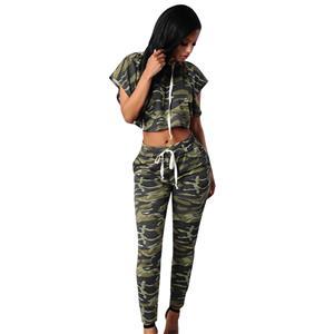 Casual Camouflage Sport Suit, Short Sleeve Hooded Crop Top Suit, Crop Top Tight Long Pants Suit, Loose Hooded Crop Top Pants Suit, Fashion Camouflage Pants Suit for Women, #N16290
