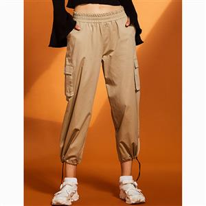 Elastic Waist Pants, Womens Khaki Pants, Solid Color Pants for Women, Wide Legs Pants, Pocket Pants for Women, Adjustable Pants, Plain Sport Pants for Women, #N15674