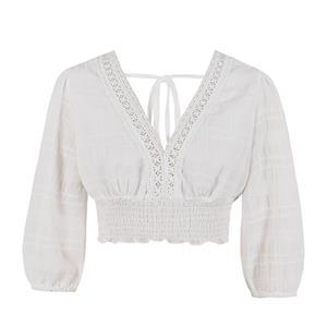 Fashion Casual Thin Cotton Low-cut Floral Lace Trim Bracelet Sleeve Elastic Crop Top N19414