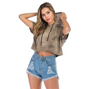 Loose Short Hoodie,Casual T-shirt Tops,Casual Short Sleeve Hoodie, Exposed Navel Hoodie,Women Casual T-shirt,Fashion T-shirt,Tie-dye Gradient T-shirt,Drawstring T-shirt Tops, #N20477