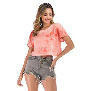 Loose Short Blouse,Round Neck Casual Blouse,Casual Short Sleeve Blouse, Exposed Navel Blouses,Women Casual Blouse,Fashion T-shirt,Tie-dye Gradient T-shirt, #N20475