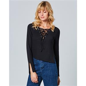 Lace-up Top for Women, Long Sleeve Top, V Neck Top, Irregular Top, Slit Tops for Women, Knitwear Top, Casual Top for Women, #N15292