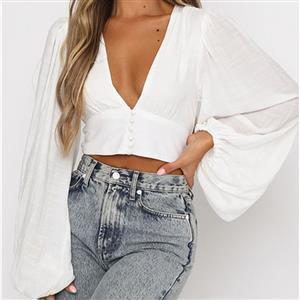 Fashion Belly Shirt, Sexy Crop Top, Sexy Clubwear Tummy Top, Sexy Cutoff Shirt Clubwear, Long Sleeve Crop Top, Casual Half Shirt, Street Dancing Crop Top,Deep V Neck Lantern Sleeve Tops, #N21111