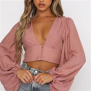 Fashion Belly Shirt, Sexy Crop Top, Sexy Clubwear Tummy Top, Sexy Cutoff Shirt Clubwear, Long Sleeve Crop Top, Casual Half Shirt, Street Dancing Crop Top,Deep V Neck Lantern Sleeve Tops, #N21112
