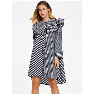 Long Sleeve Dress, Color Block Plaid Dress, Falbala Ruffled Dress, Patchwork Dress, A-Line Dresses for Women, Round Collar Dress, Asymmetric Dress, Casual Dress for Women, #N15308