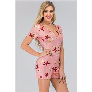 Short Swimsuit, Bohemia Jumpsuits for Women, Bohemia Style Beach Jumpsuit, Short Sleeve Jumpsuit, Split V Neck Jumpsuit, Casual Stars Print Bodysuit, Short Pajamas, #N20503
