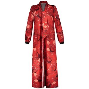Fashion Red Long Coat for Women, Floral Print Lace-up Trench Coat, Red Long Sleeve V Neck Coat, Women