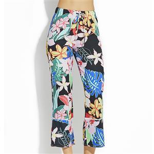 Fashion Long Print Pants for Women, Lace-up Wide Leg Pants, Retro Floral Print Pants, Women