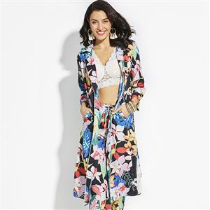 Fashion Long Print Cardigan for Women, Long Sleeve Floral Print Cardigan, Lapel Print Long Cardigan, Women