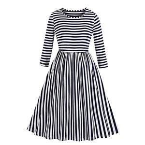 Fashion Pinstripe Day Dress, Casual Stripe Dress,Plus Size Spring Dress for women, Country style Dress for Women, Vintage Dresses for Women, Spring Dresses for Women, 7-point Sleeve Dress, #N19502