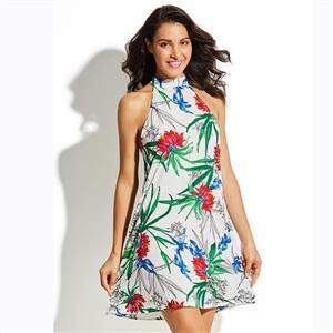 Sleeveless Dress, Stand Collar Dress, Casual Dresses for Women, Pullover Dress, Floral Print Dress, Sexy Dress for Women, A-Line Dress, Mini Dress, #N15559