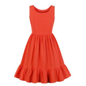 Casual Red Round Neck Sleeveless Ruffle Hemline Party Knee-length Dress N19159