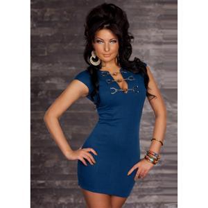 Chain Buckle T-Shirt Mini Dress Blue, T-Shirt Mini Dress, Mini Dress Blue, #N4891