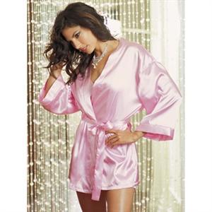 Pink Satin Robe, Sexy pink short satin robe, Pink Robe, #C1805