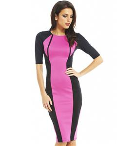 2/5 Sleeve Slim Knee-Length Dress, Black and Pink Short Sleeve Pencil Dress, Contrast Colour Evening Midi Dress, #N8910