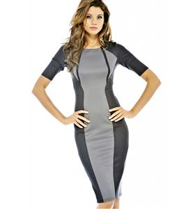 2/5 Sleeve Slim Knee-Length Dress, Black and Gray Short Sleeve Pencil Dress, Contrast Colour Evening Midi Dress, #N8908
