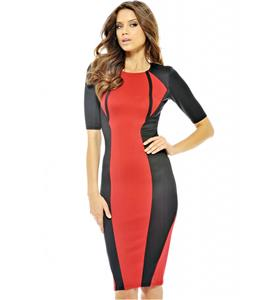 2/5 Sleeve Slim Knee-Length Dress, Black and Red Short Sleeve Pencil Dress, Contrast Colour Evening Midi Dress, #N8909