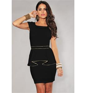 Black Classic OL Hippie Peplum, Scoop Neck Peplum Office Wear, Black Cap Sleeve Cocktail Prom Dress, #N8665