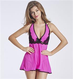 Sexy Babydoll Dress, Sexy Halter Lace Trim Babydoll Lingerie, Valentine