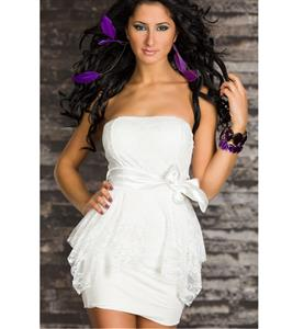 White Strapless Double-layer Dress, Floral Fabric Overlaid Bodycon Dress, Mini Dress with Wide Satin Ribbon Belt, #N7776