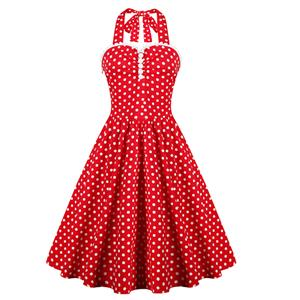 New Fashion Red Halter Polka Dot Casual Swing Dress N11513