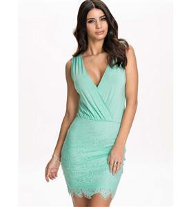 Night Club Party Dress, Cheap Clubwear Dress, Fashion Green Lace Dress, Hot Sale Sleeveless Dress, Elegant Lady Dress, #N10855