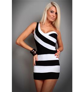 One Shoulder Bandage Dress, Asymmetrical Mini Club Dress, Zebra Stripes Black and White Dress, #N7821