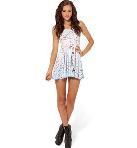 Cherry Blossom Blue Skater Dress, Sleevele Flower Pattern Pleated Dress, Cherry Blossom Reversible Mini Dress, #N8752