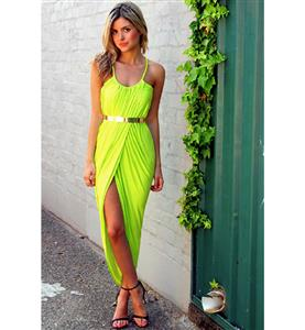Lemon Empire Straps Maxi Dress, Chic Slouch Front Split Dress, High Split Ruched Maxi Dress, #N9130