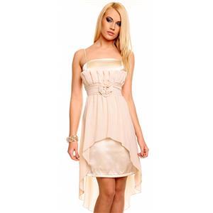 Beige Cocktail Kleid, Beige Chiffon Abendkleid, Edles Satin Chiffon ABENDKLEID Ballkleid, #N5978