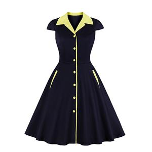 Retro Black and Yellow Midi Dress, Vintage Dresses for Women, Sexy Dresses for Women Cocktail Party, Vintage High Waist Dress, Short Sleeves Swing Dress, High Waist Short Sleeves Swing Daily Dress, Chinoiserie Reformed Cheongsam, #N20283
