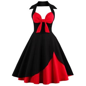 Charming Valentines Patchwork Halter Cocktail Party Dress N12501