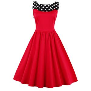 Sexy Sweet Polka Dot Print Patchwork Halter Cocktail Party Dress N12502
