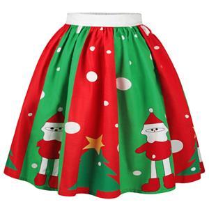 Christmas Skater Skirt, Sexy Skater Skirt for Women, A Line Pleated Skirt, Christmas Holiday Print Skirt, Retro Fashion Skirts, Christmas 3d Digital Print Skater Skirts, #N15066