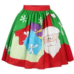 Christmas Skater Skirt, Sexy Skater Skirt for Women, A Line Pleated Skirt, Christmas Holiday Print Skirt, Retro Fashion Skirts, Christmas 3d Digital Print Skater Skirts, #N15067