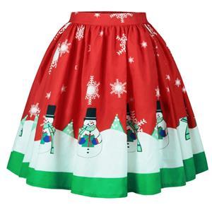 Christmas Skater Skirt, Sexy Skater Skirt for Women, A Line Pleated Skirt, Christmas Holiday Print Skirt, Retro Fashion Skirts, Christmas 3d Digital Print Skater Skirts, #N15068