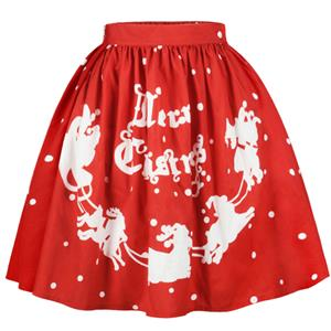 Christmas Skater Skirt, Sexy Skater Skirt for Women, A Line Pleated Skirt, Christmas Holiday Print Skirt, Retro Fashion Skirts, Christmas 3d Digital Print Skater Skirts, #N15071