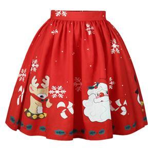 Christmas Skater Skirt, Sexy Skater Skirt for Women, A Line Pleated Skirt, Christmas Holiday Print Skirt, Retro Fashion Skirts, Christmas 3d Digital Print Skater Skirts, #N15072