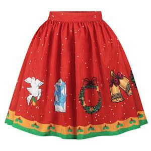 Christmas Skater Skirt, Sexy Skater Skirt for Women, A Line Pleated Skirt, Christmas Holiday Print Skirt, Retro Fashion Skirts, Christmas 3d Digital Print Skater Skirts, #N15074