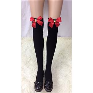 Christmas Black Stockings, Sexy Thigh Highs Stockings, Pure Black Cosplay Stockings, Christmas Bell Thigh High Stockings, Red Bowknot Stocking, Stretchy Nightclub Knee Stockings, #HG18462
