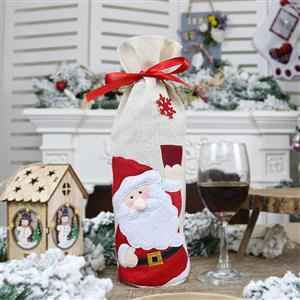 Santa Claus Red Wine Bag Christmas Eve Dinner Party Decorative Accessory XT19825