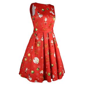 Christmas Sleeveless Dress, Cheap Women
