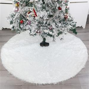 Christmas Tree Skirt White Faux Fur 120cm Dinner Party Decoration XT19907