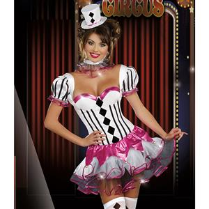 Cirque Du Sexy Costume, Black and White Harlequin Costume, Black and White Clown Costume, Women Circus Short Dress Costume, Pink-white Circus Adult Costume, Sexy Circus Costume#N5940