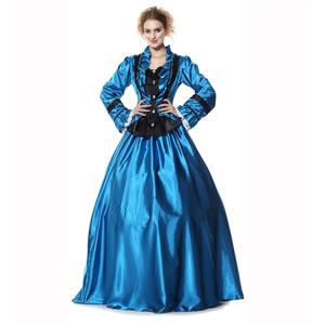 Civil War Victorian Satin Ball Costumes, Brand New Civil War Satin Princess Costumes, Brand New Civil War Satin Princess Costumes,Blue Satin Victorian Ball Costume, Retro Vicctorian Long Dress, Elegant Victorian Blue Ball Dress, #N9304