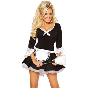 Sexy French Maid Costume, Black Lace Decor Sexy Maid Costume, Bridget French Maid Adult Costume, #N8543