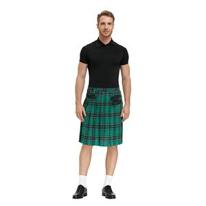 Formal Scottish Skirt, Classic Plaid Pleated Skirt, Mid Waist Cotton Kilt ,Men