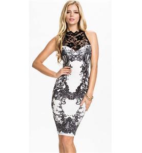 Fashion Knee-length Dress, Cheap Black and White Lace Dress, Lady Spring Dress, Classical Girls Dress, #N10108