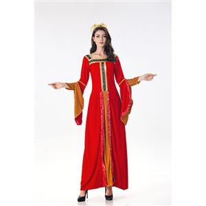 Red Maiden Renaissance Costume, Medieval Costume for Women, Renaissance Beauty Cosplay Costumes, Red Medieval Ladies Halloween Costumes, #N17992