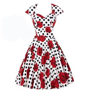 Vintage Women Blackless Cap Sleeves Floral Rose Spot Print  Swing Dress N14089